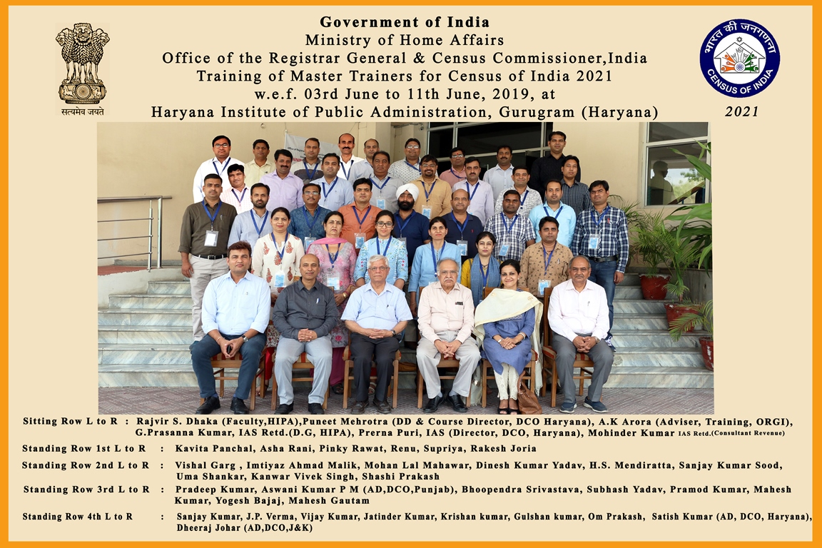 Training of Master Trainers being organised by Directorate of Census Operations Haryana at Haryana Institute of Public Administration, Gurugram from 3rd to 11th June 2019