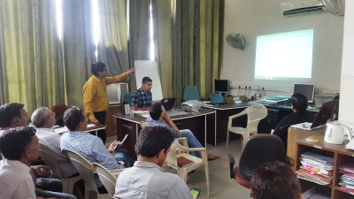 Participants learning about Census Mobile App through hands on practice under supervision of Master Trainers