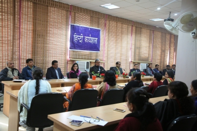 Hindi workshop: Participants interacting with the officers of DCO and learning technical skills of hindi